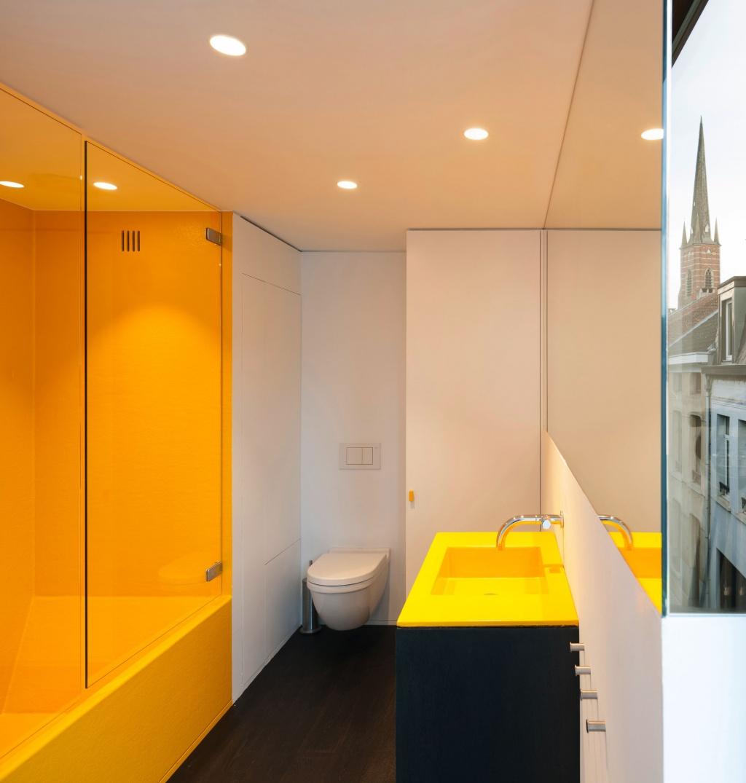 Minimalist yellow bathroom