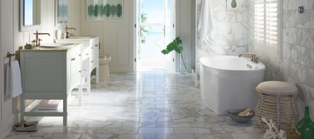 Clean bathroom floor
