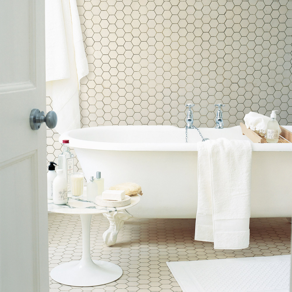 Hexagonal bathroom floor