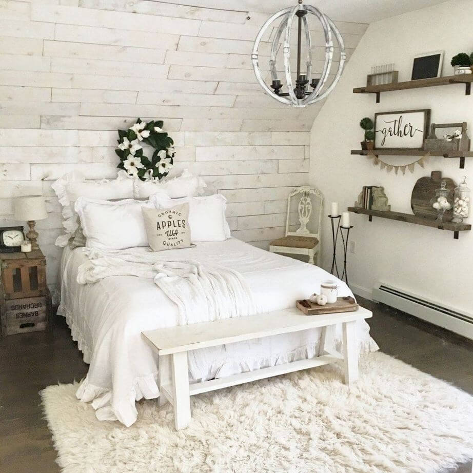 Bedroom in the shabby chic farmhouse