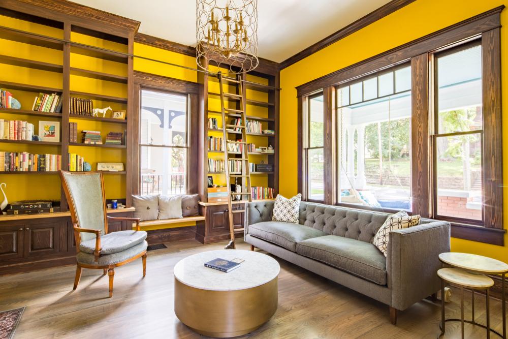 Yellow living-reading room