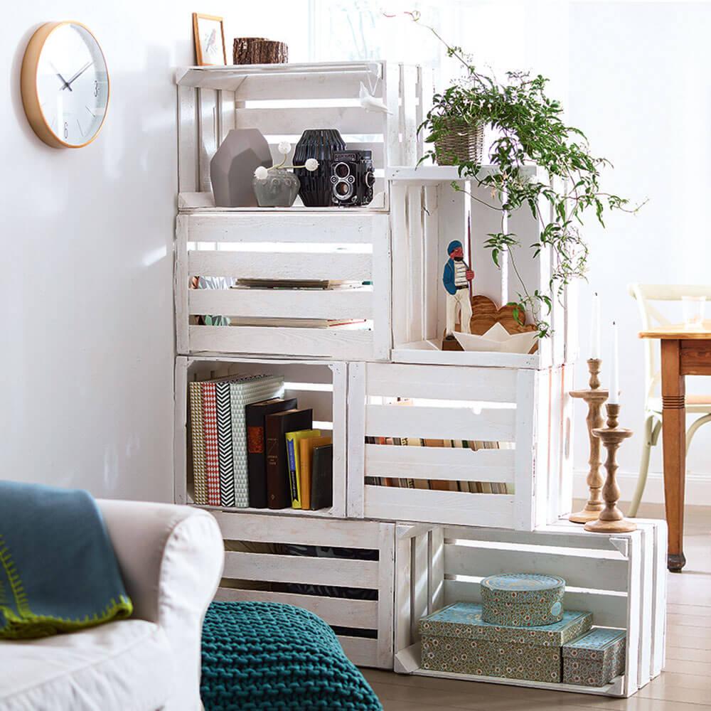 Old cardboard as room dividers