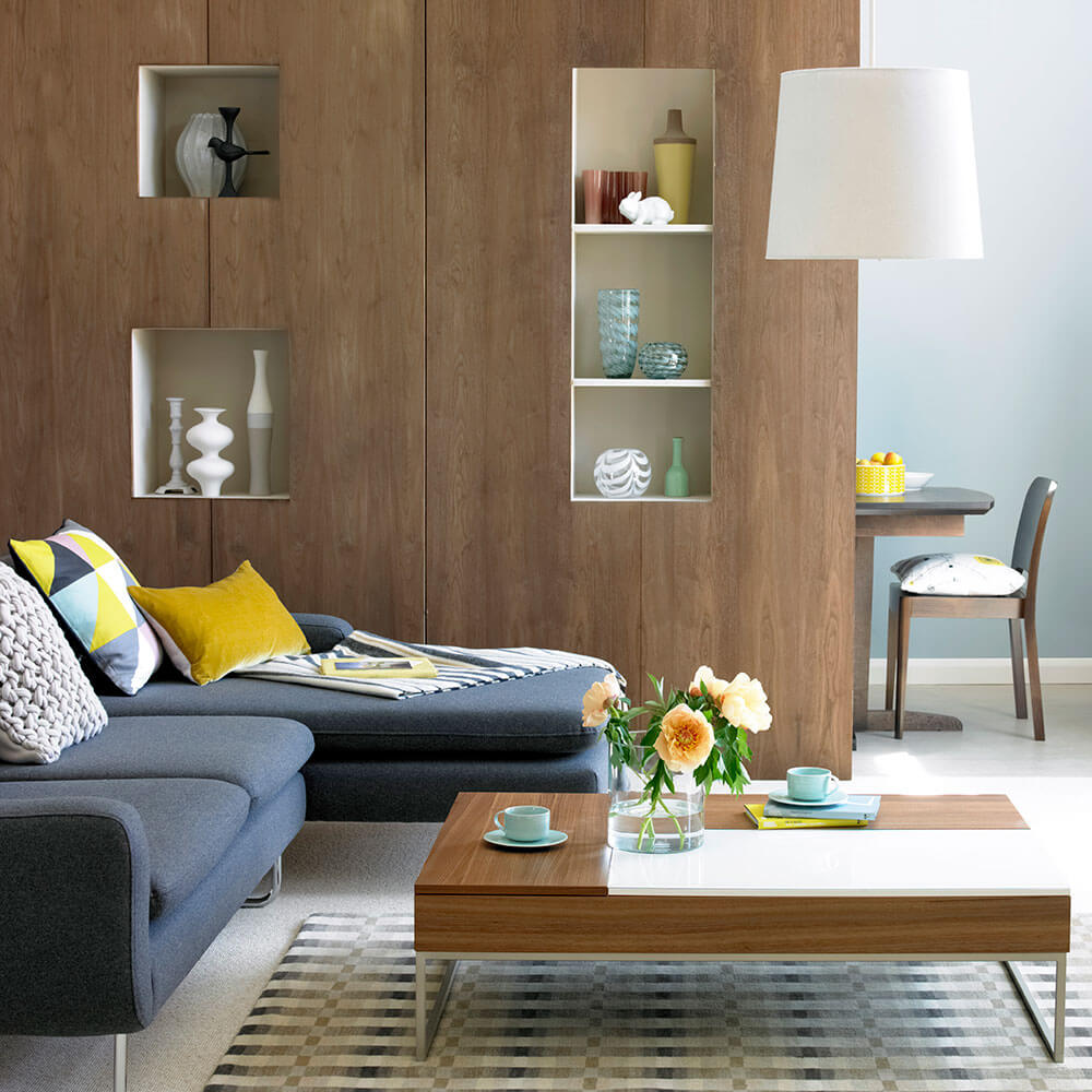 Wooden boards as room dividers