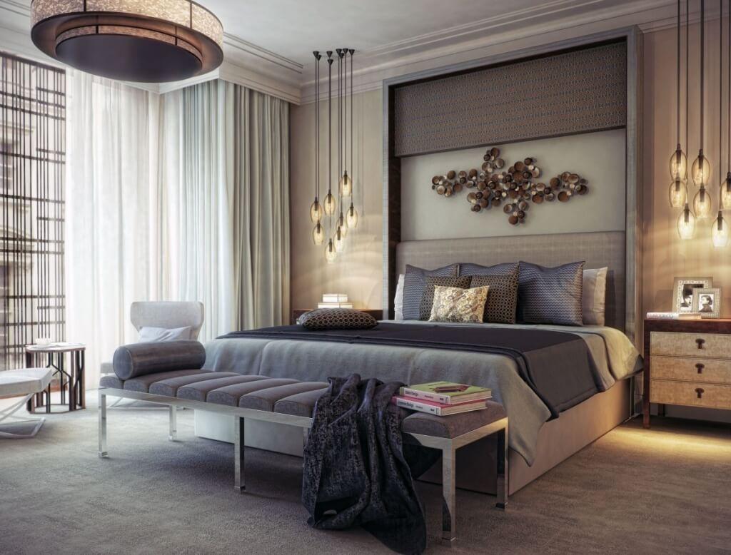 Bedroom in warm beige