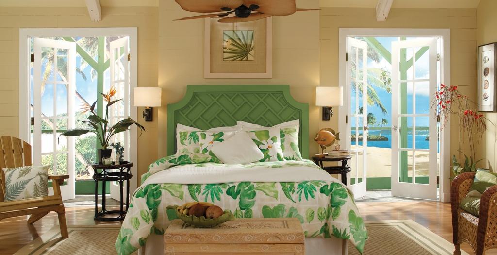 Tropical beige bedroom