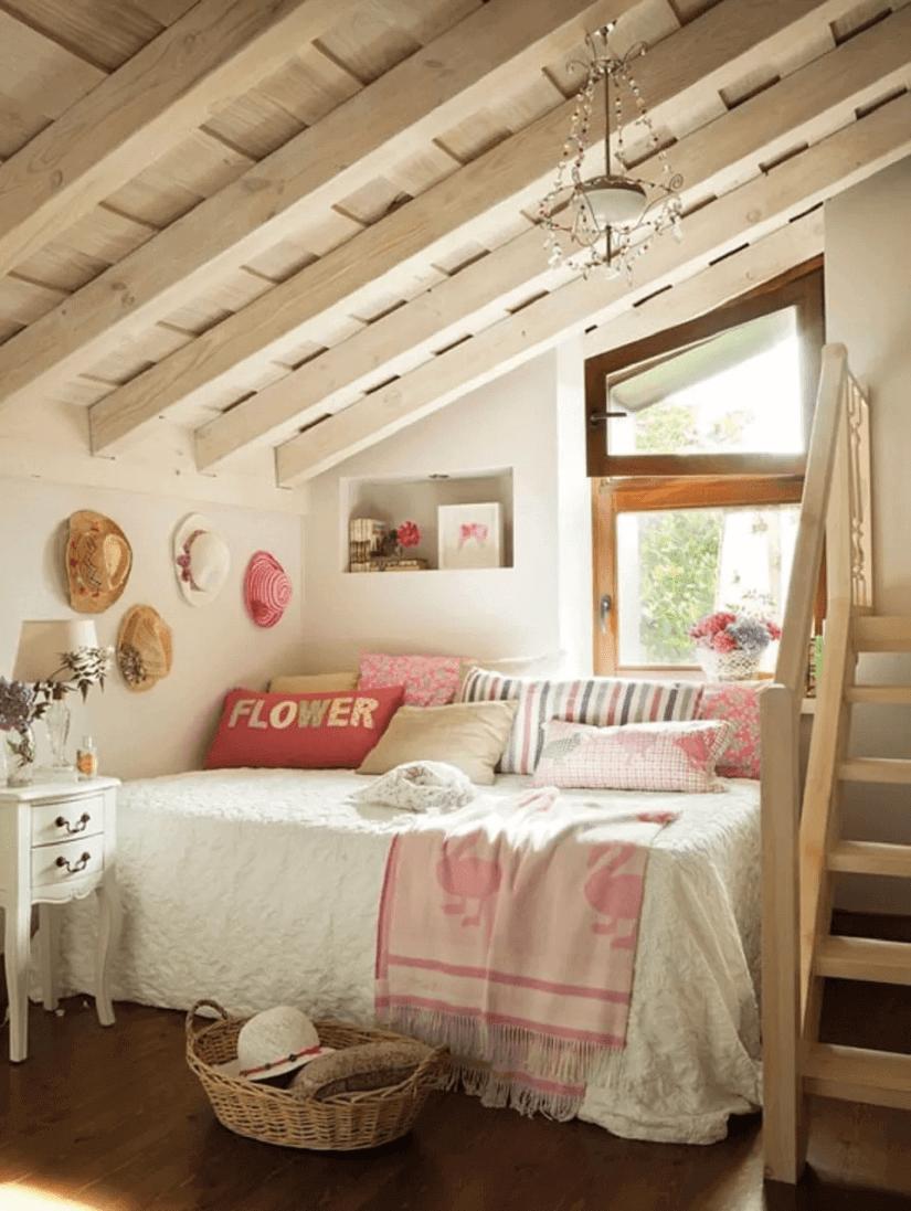 Girly farmhouse bedroom