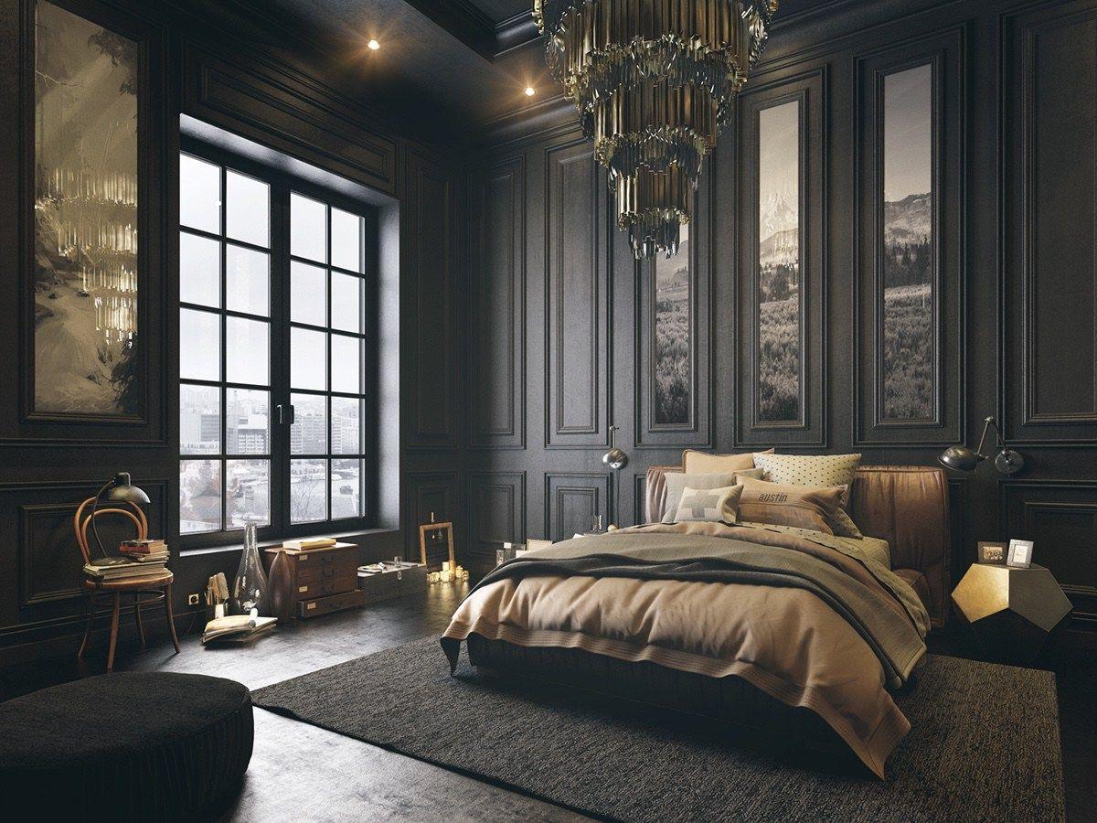 Pine-roofed dark bedroom