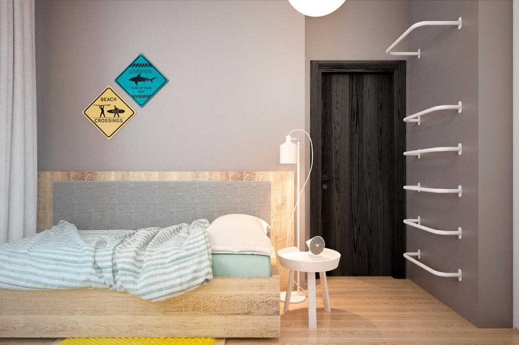 Gray bedroom door