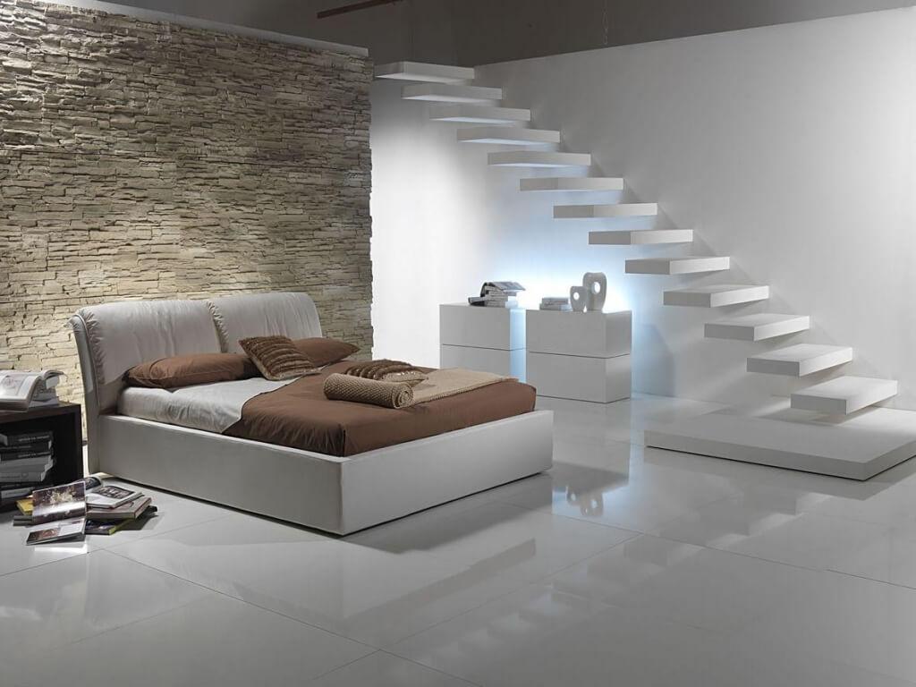 White bedroom in the basement