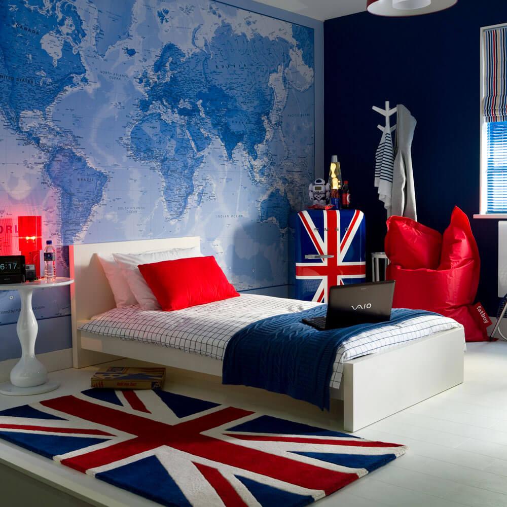 World map bedroom wallpaper