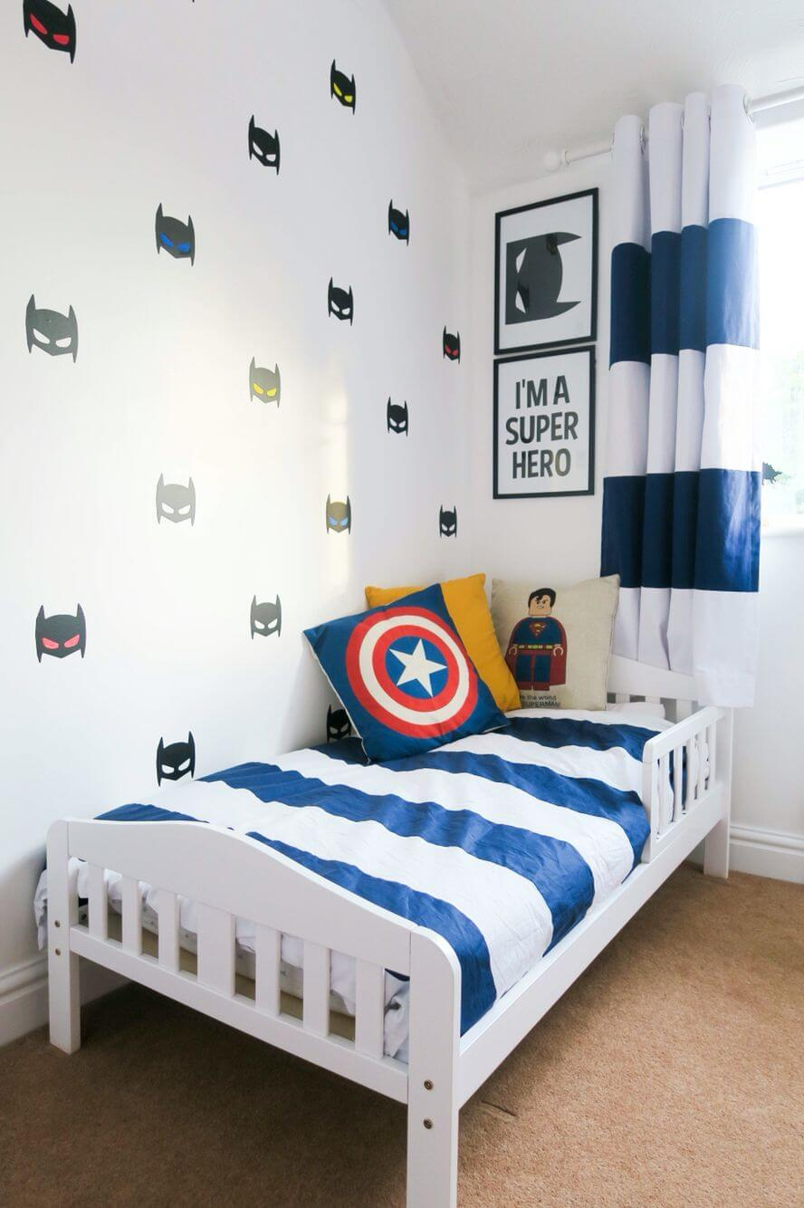 Playful white bedroom