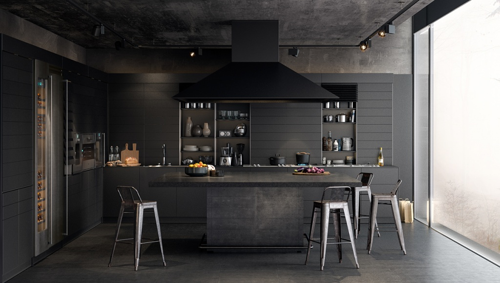 Stylish dark kitchen