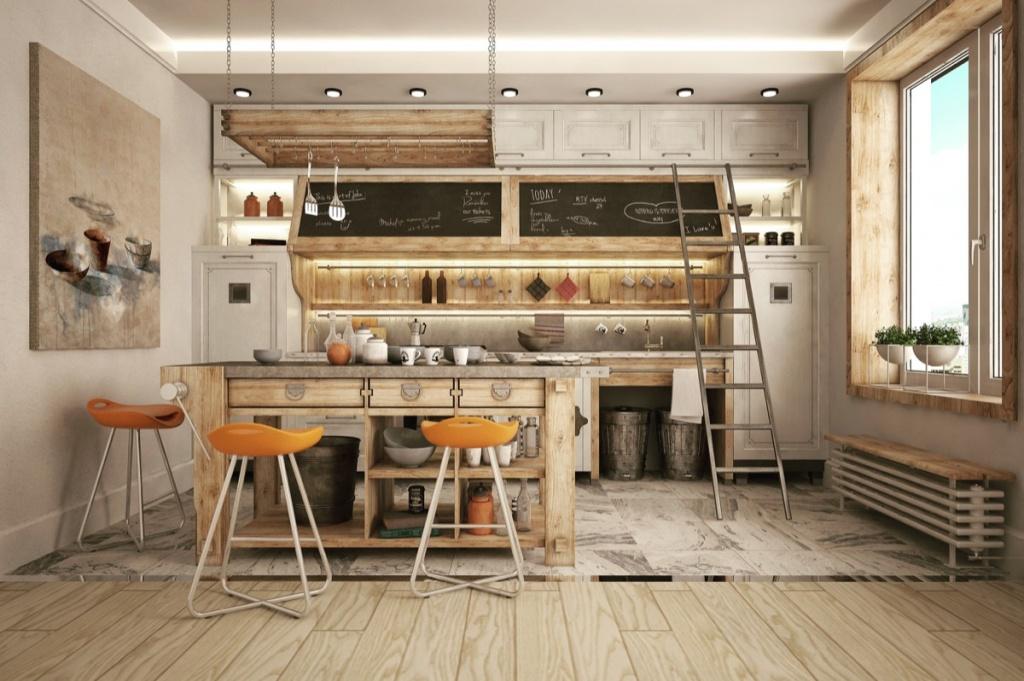 Warm industrial kitchen