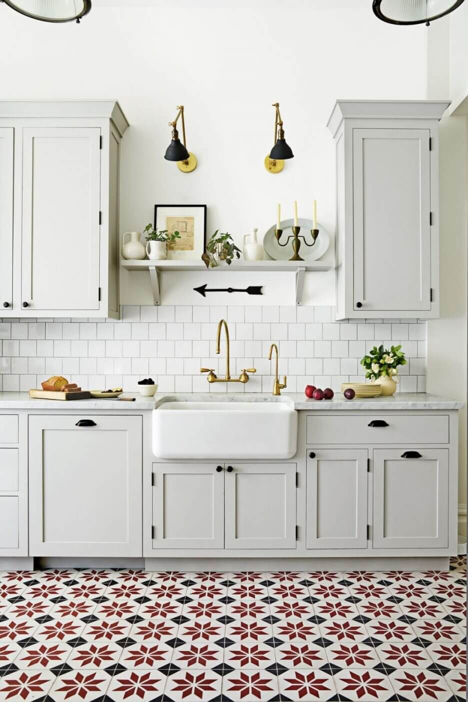 Beautiful French country kitchen lighting