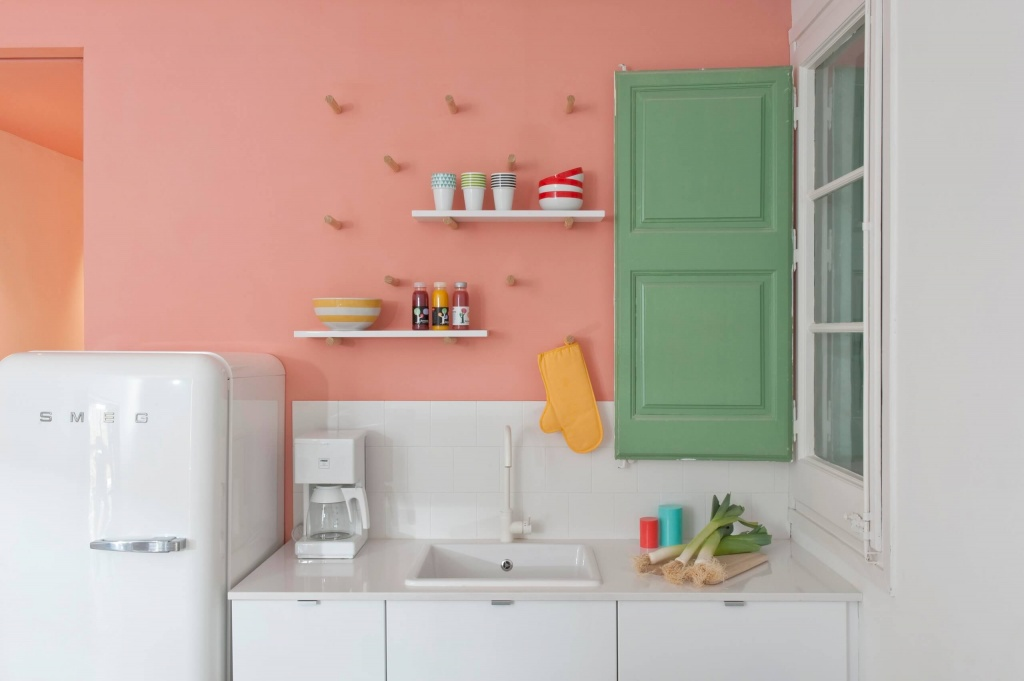 Soft colorful kitchen