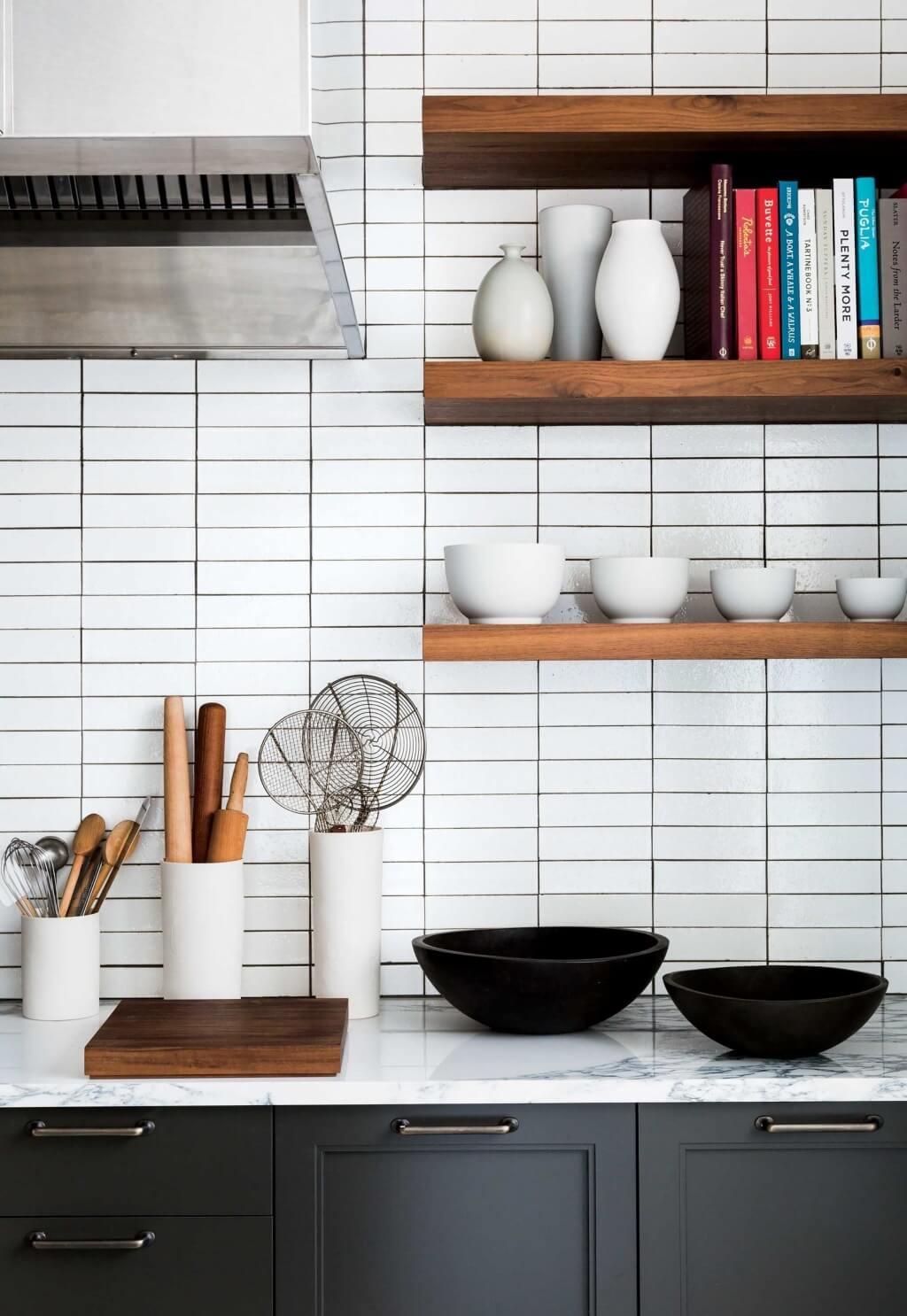 Black and white bathroom tile kitchen back wall
