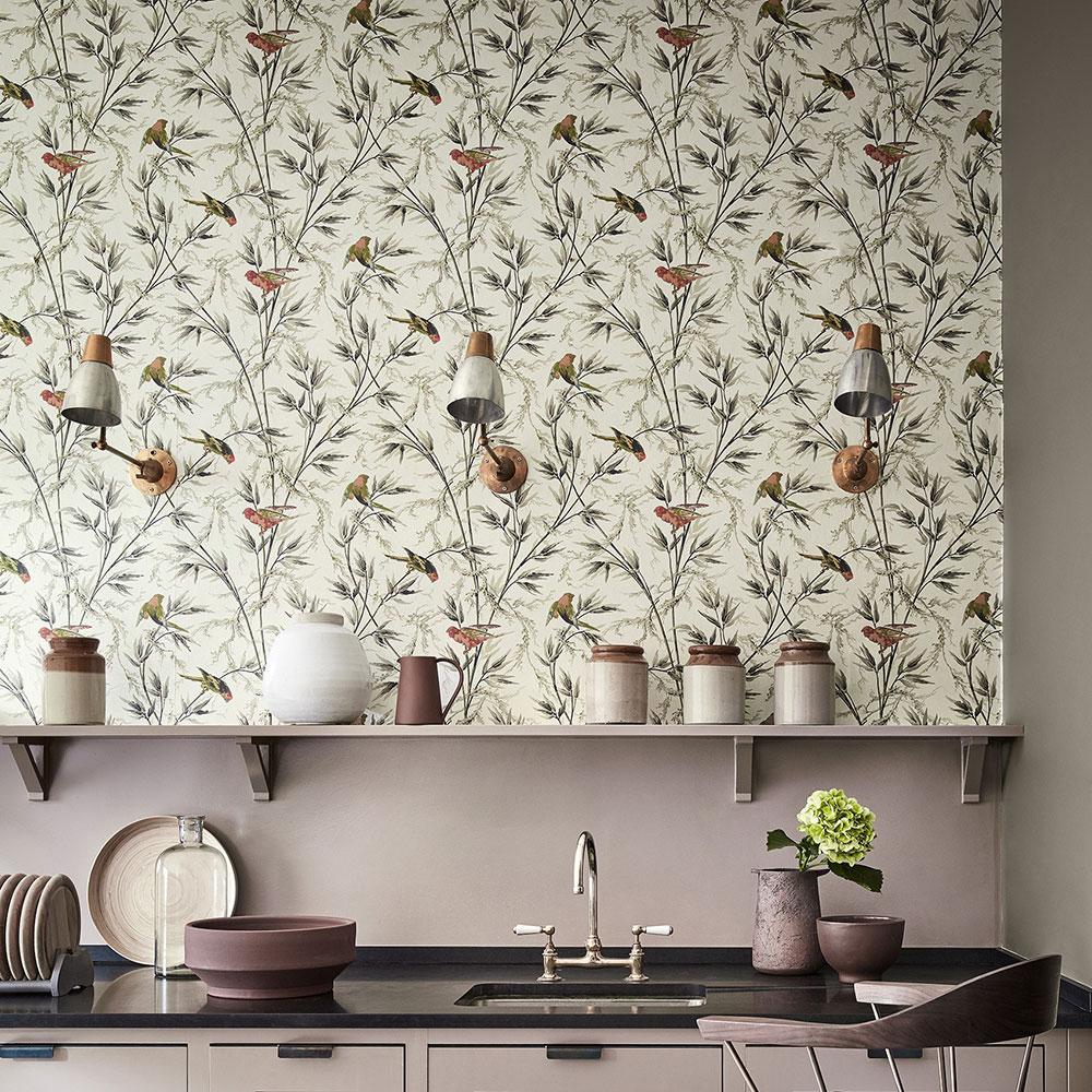 Kitchen wallpaper with weeds