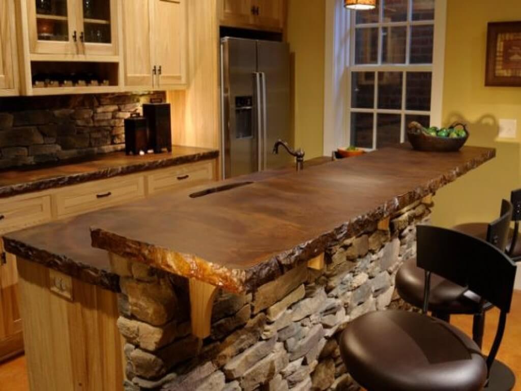 Kitchen island with natural sink