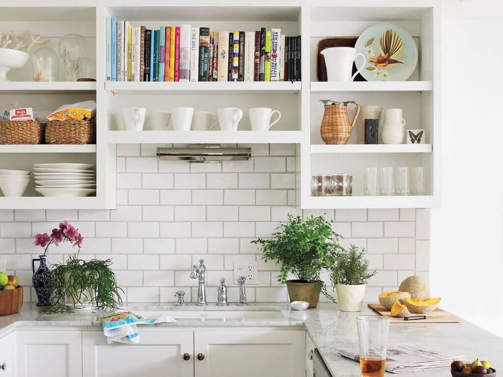 Cozy kitchen shelves