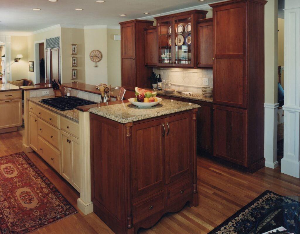 Efficient kitchen island with hob