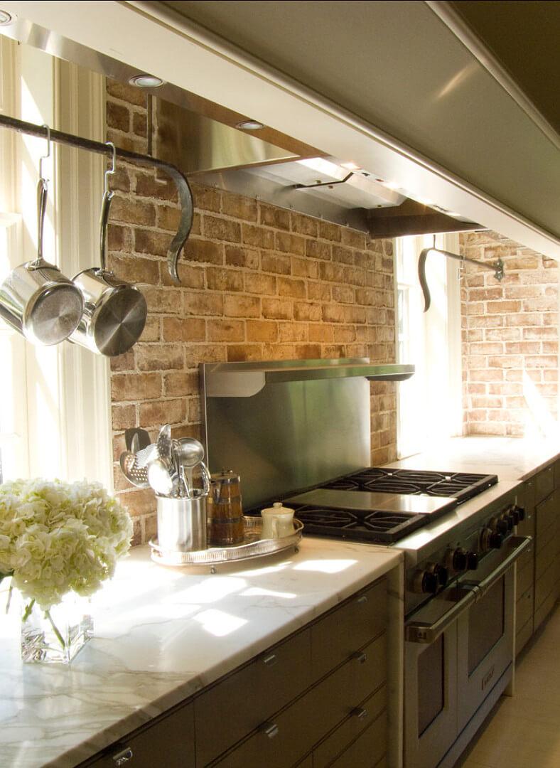 Simple brick construction of the brick kitchen