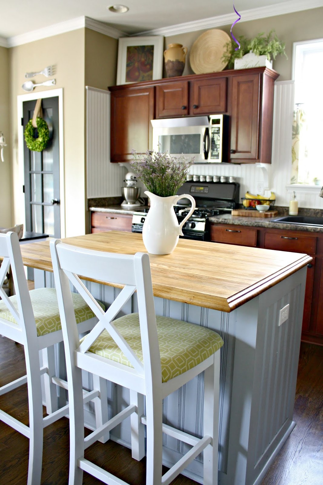 Old fashioned narrow kitchen cabinet
