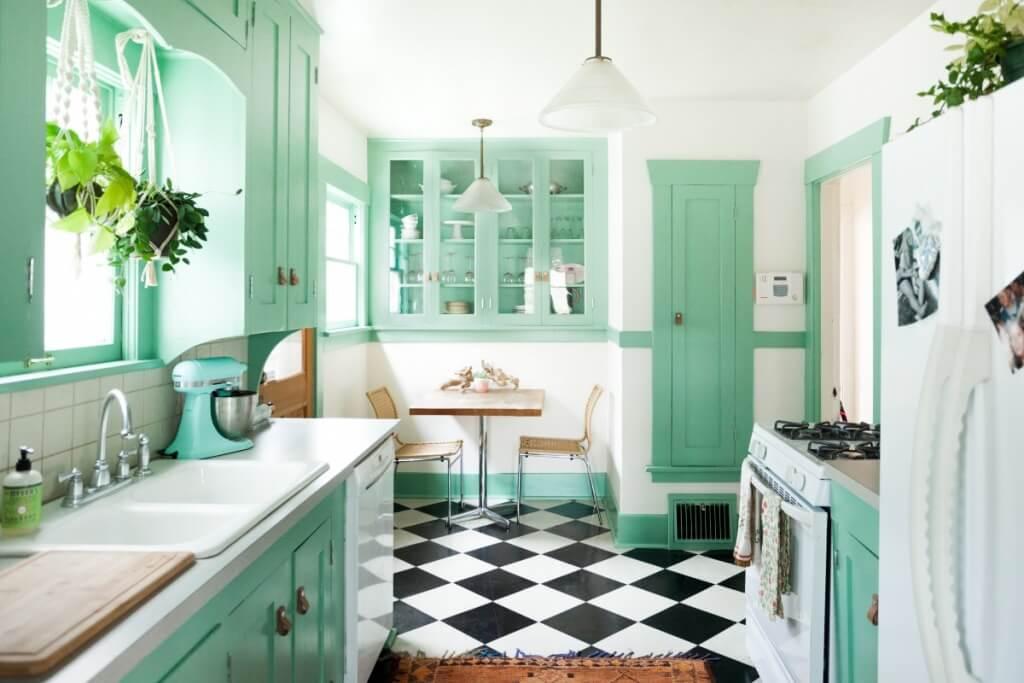 Chess-like kitchen floor