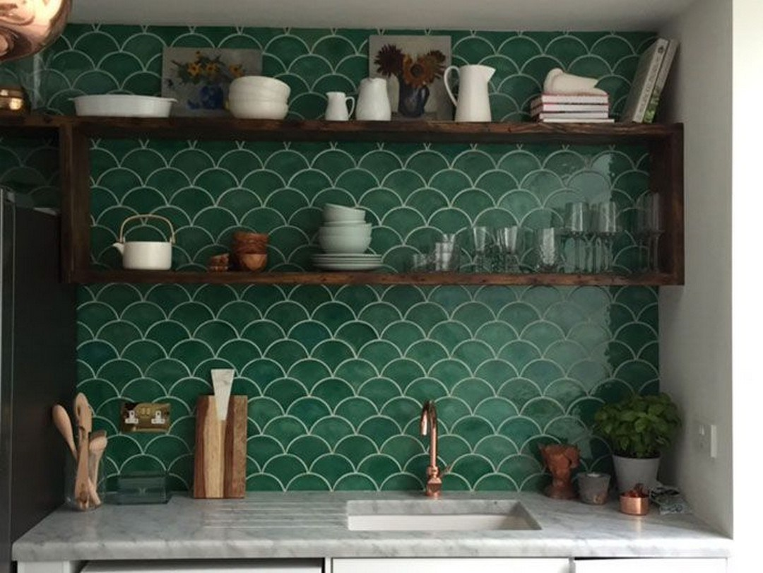 Kitchen shelves made from recycled material