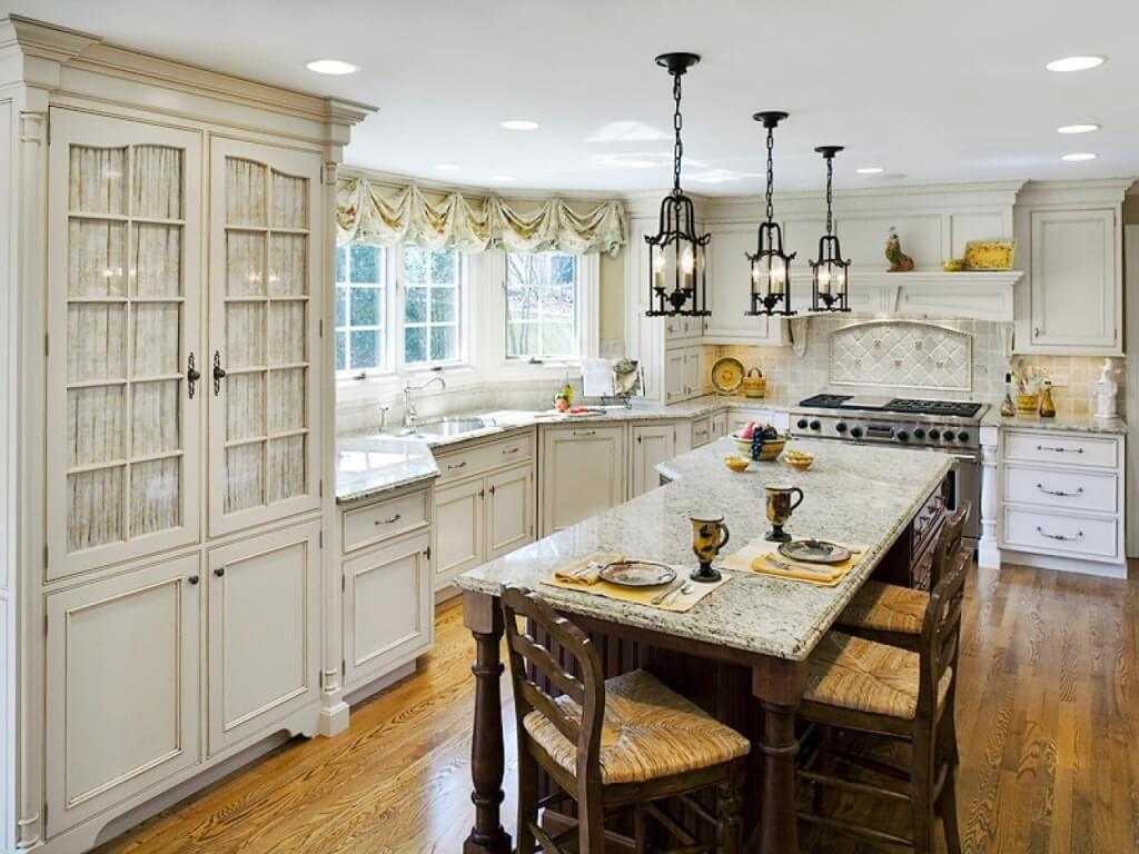 Simple French country kitchen lighting