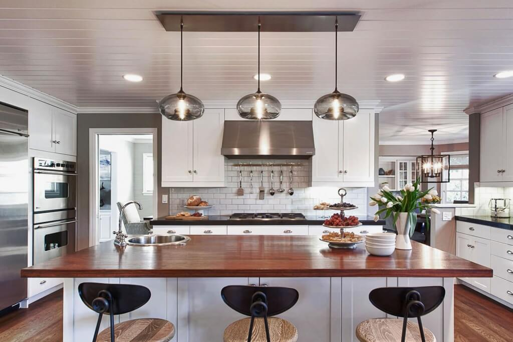 Futuristic industrial kitchen lighting