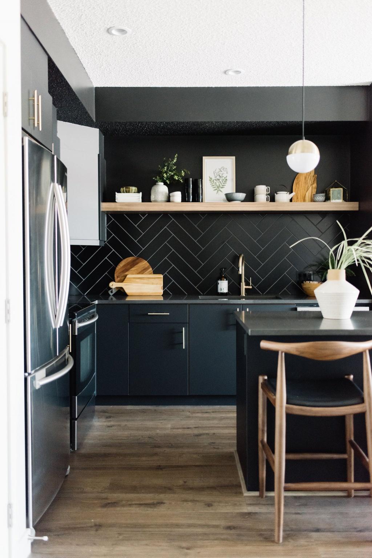Attractive dark kitchen cabinet