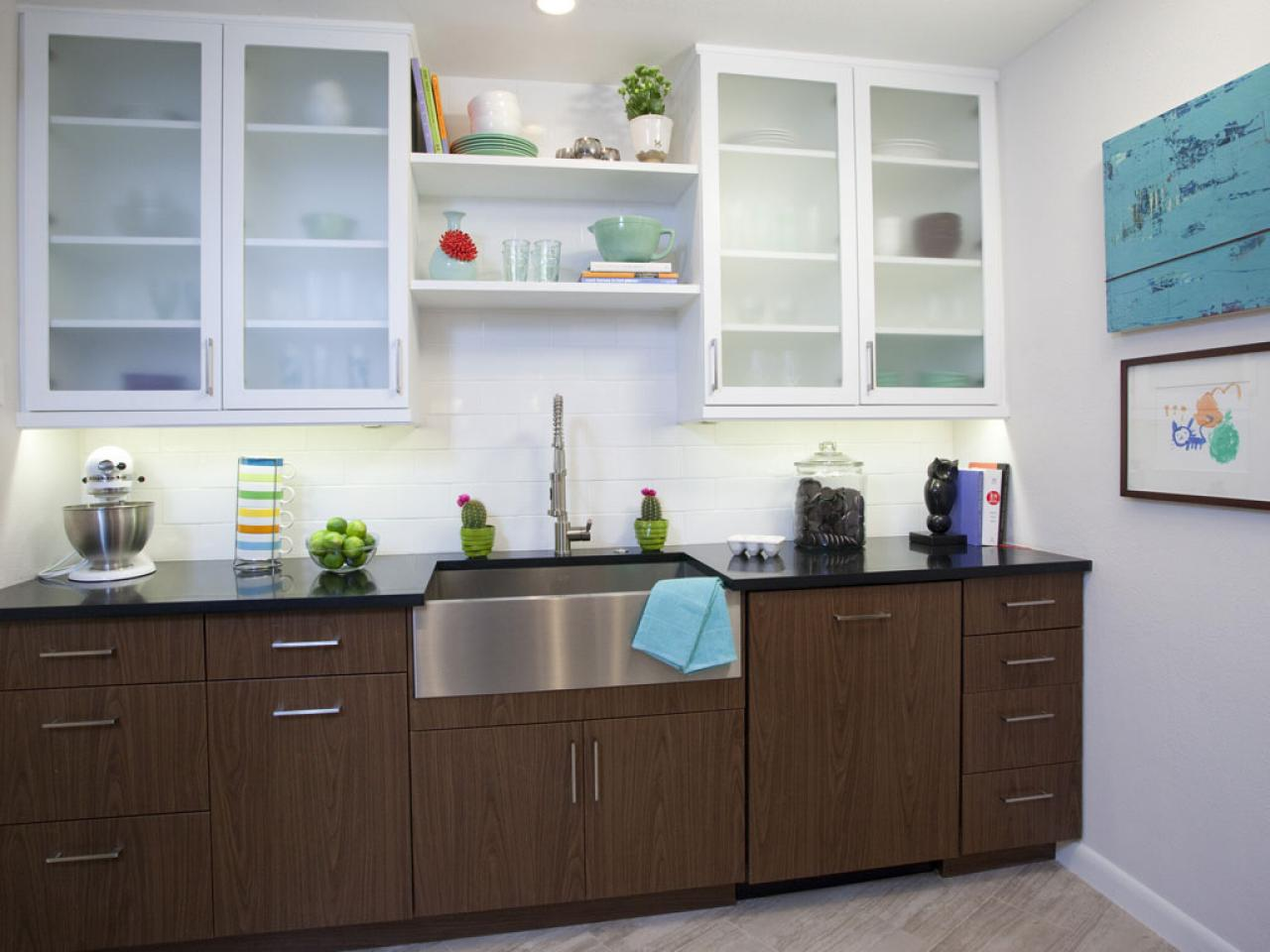 Cozy narrow kitchen cabinet