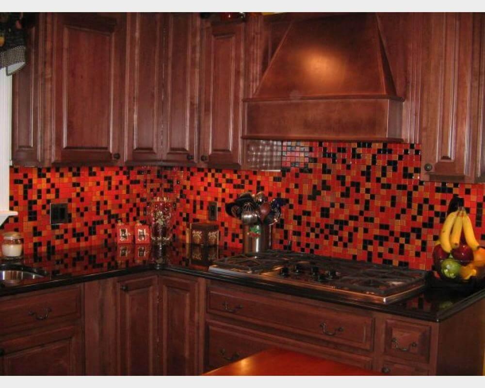 Concise dark kitchen cabinet
