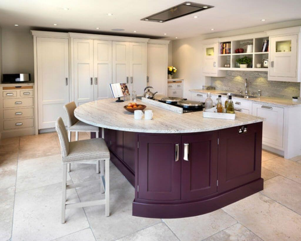Shared kitchen island with hob