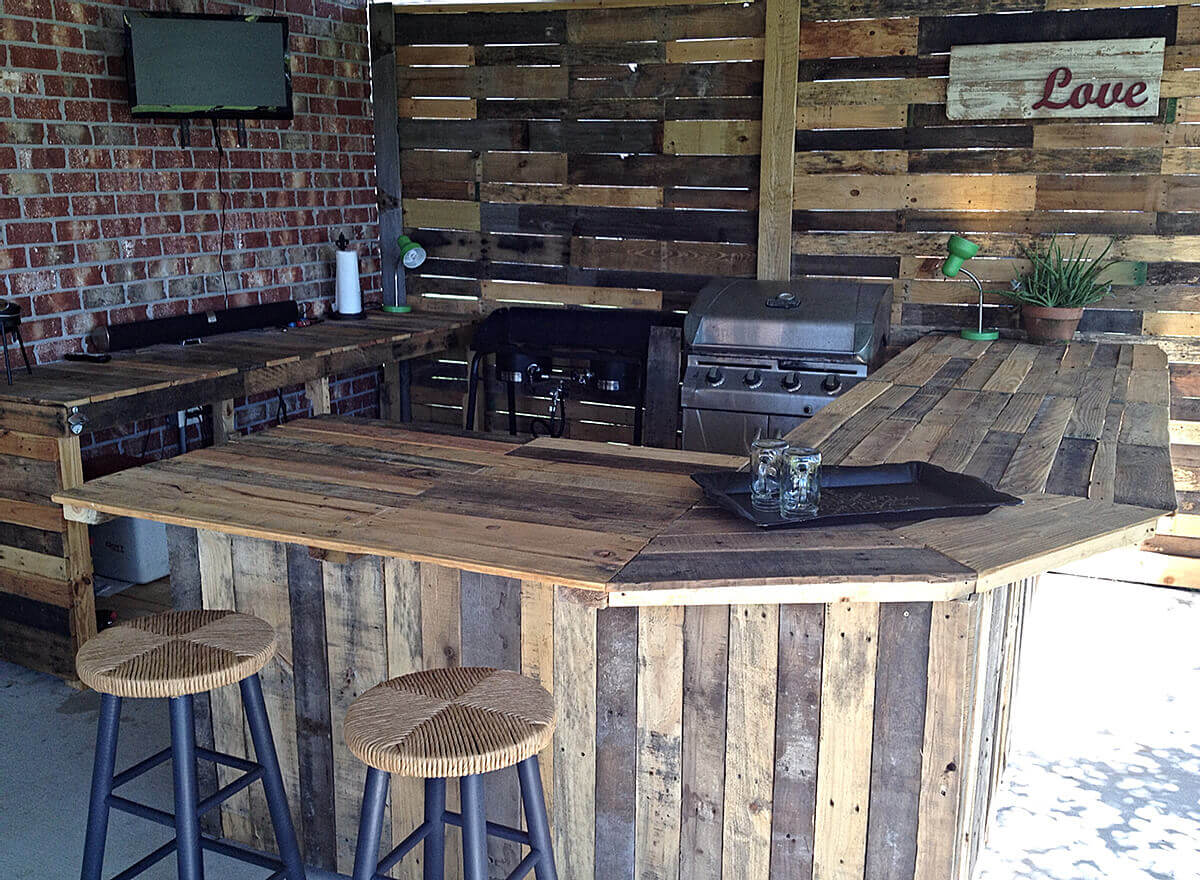 Wooden coffee bar in the outdoor kitchen island