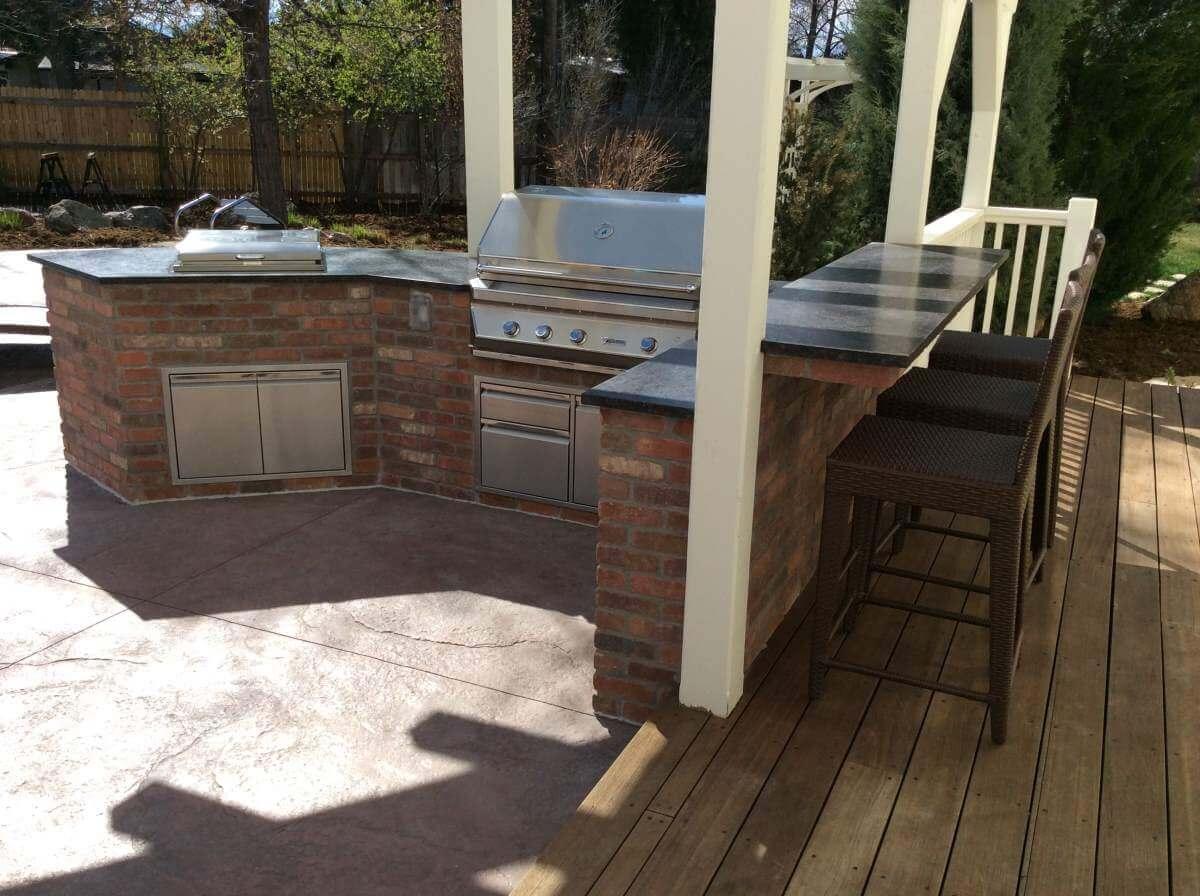 Modern outdoor coffee bar kitchen island