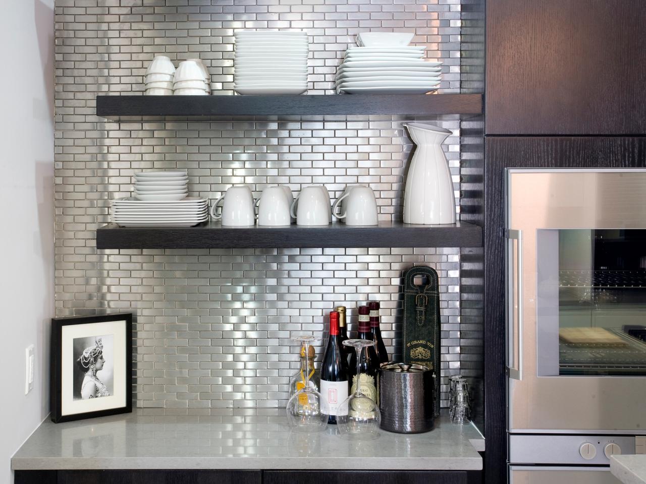 Unusual, mirrored kitchen rear wall