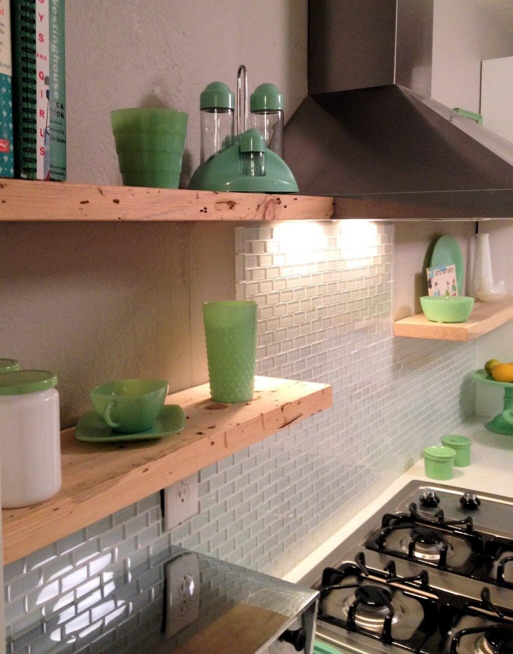 Contemporary subway tile kitchen splashback