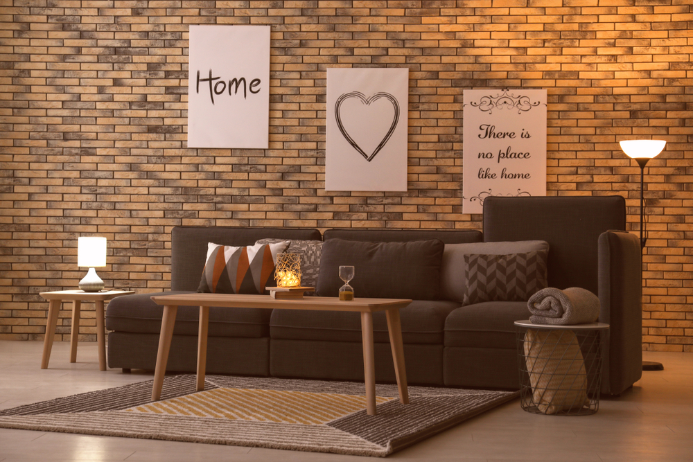 Tiered brown living room