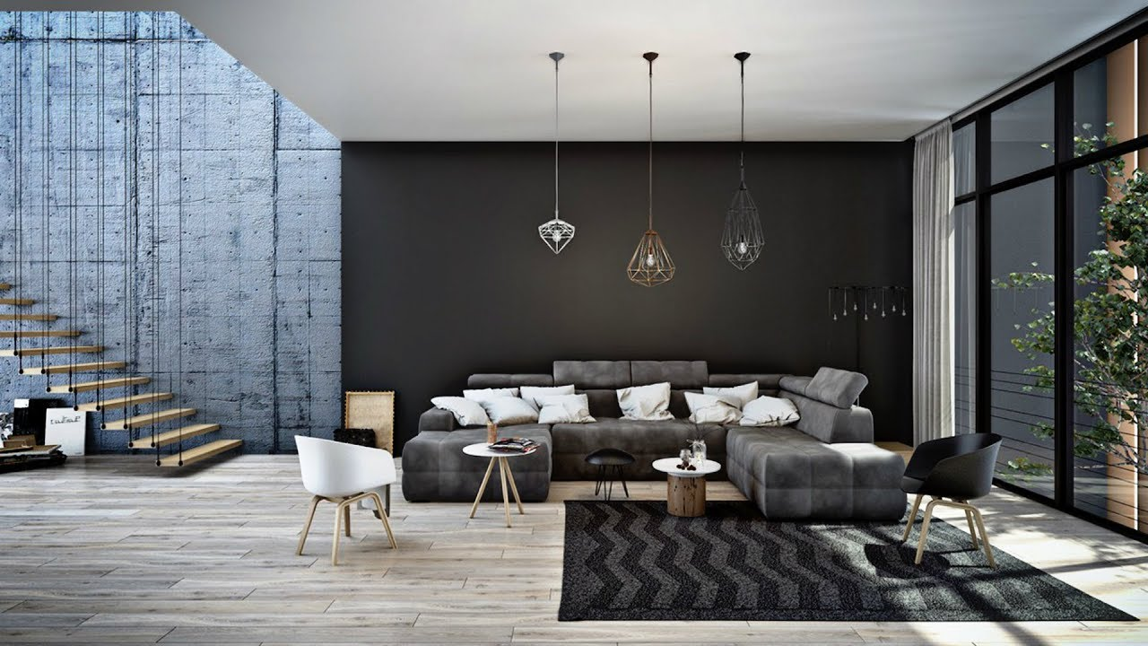 Eclectic black living room