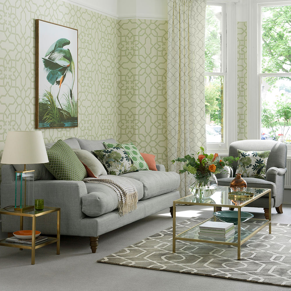 Chic gray and green living room ideas