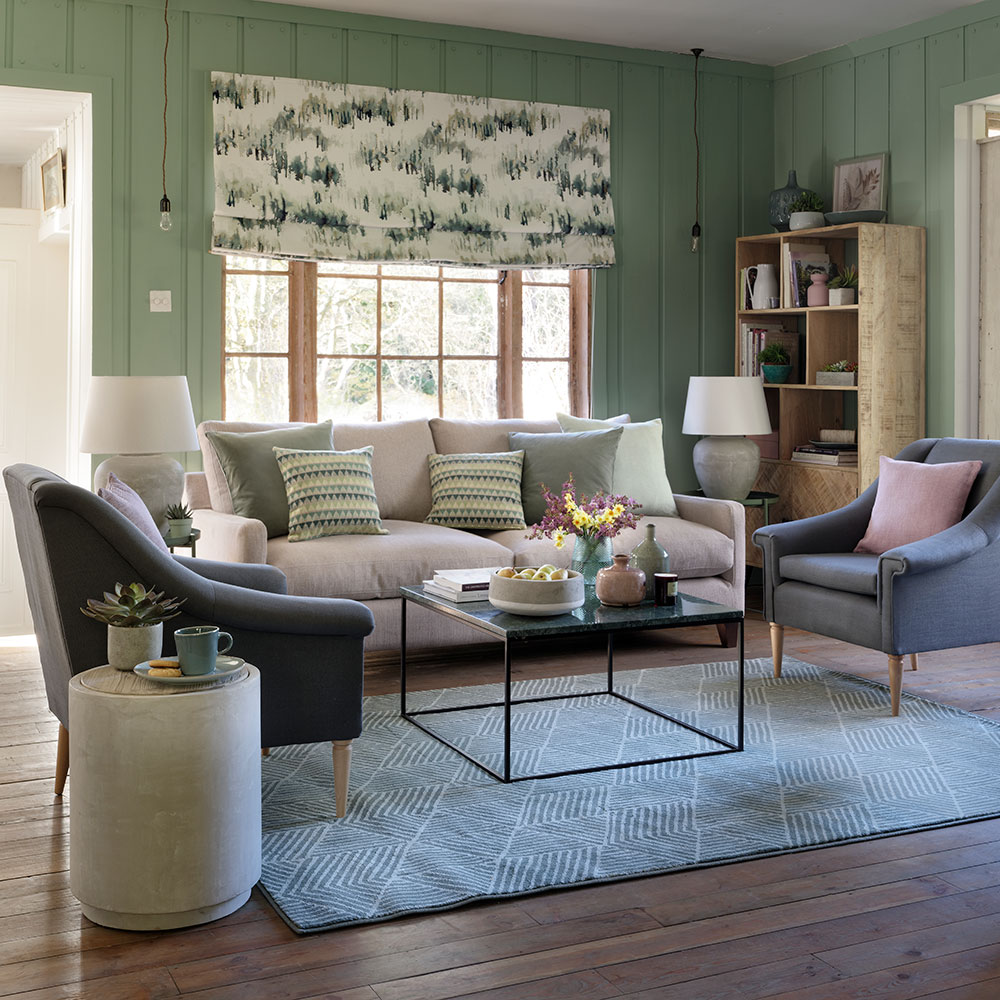 Simple gray and green living area