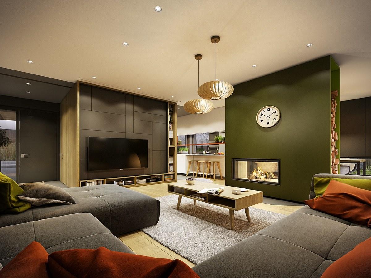 Relaxing gray-green living room