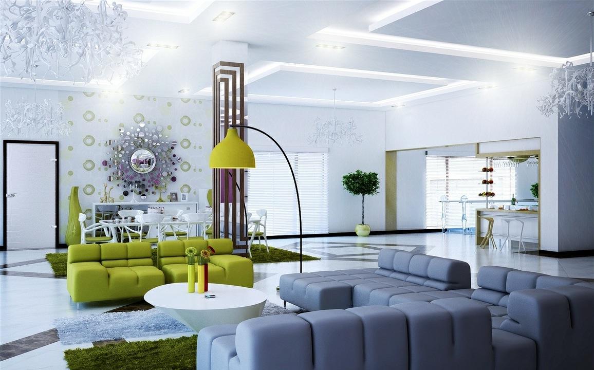 Super fantastic gray and green modern living room