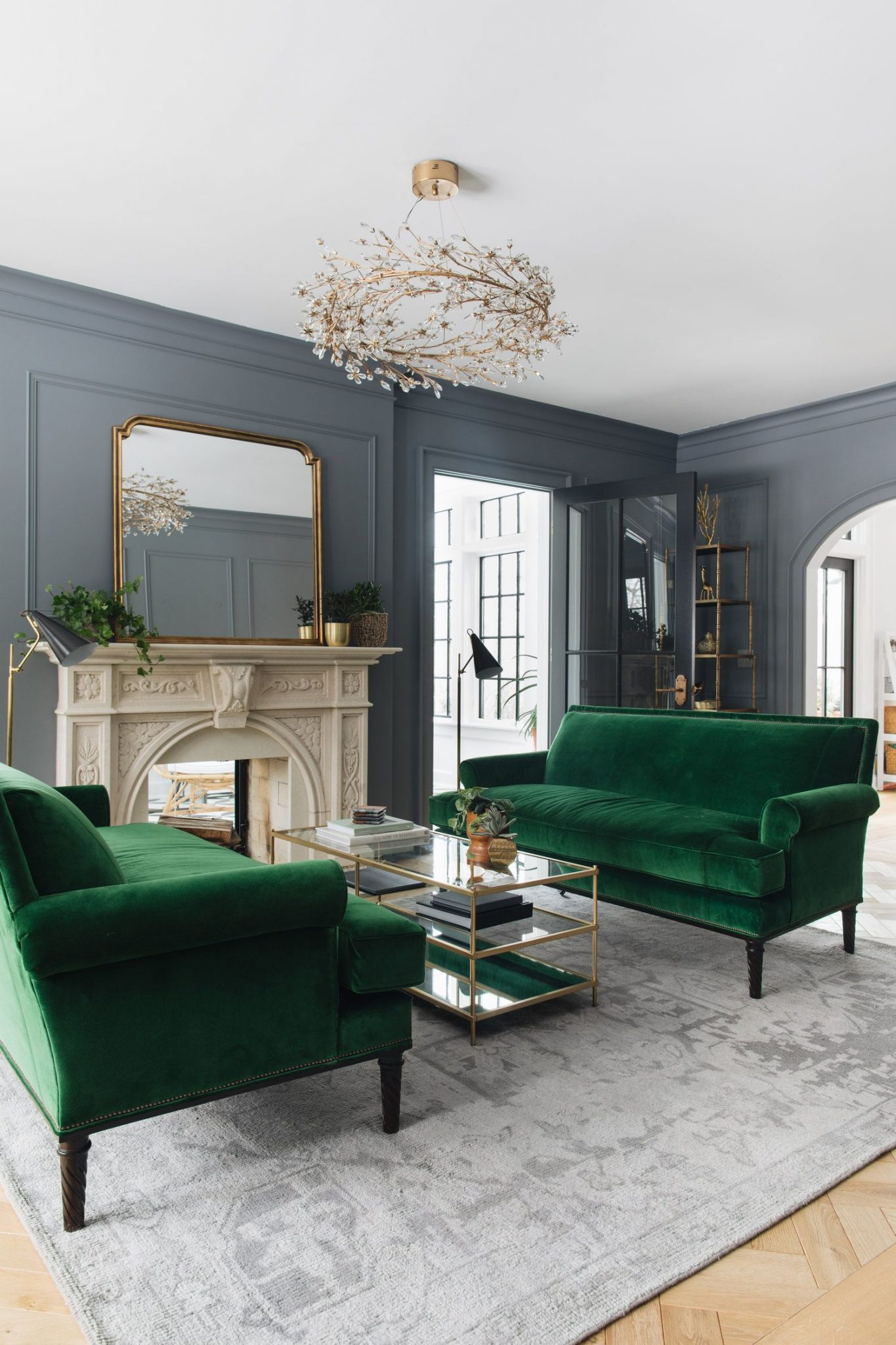 Old fashioned gray and green living room