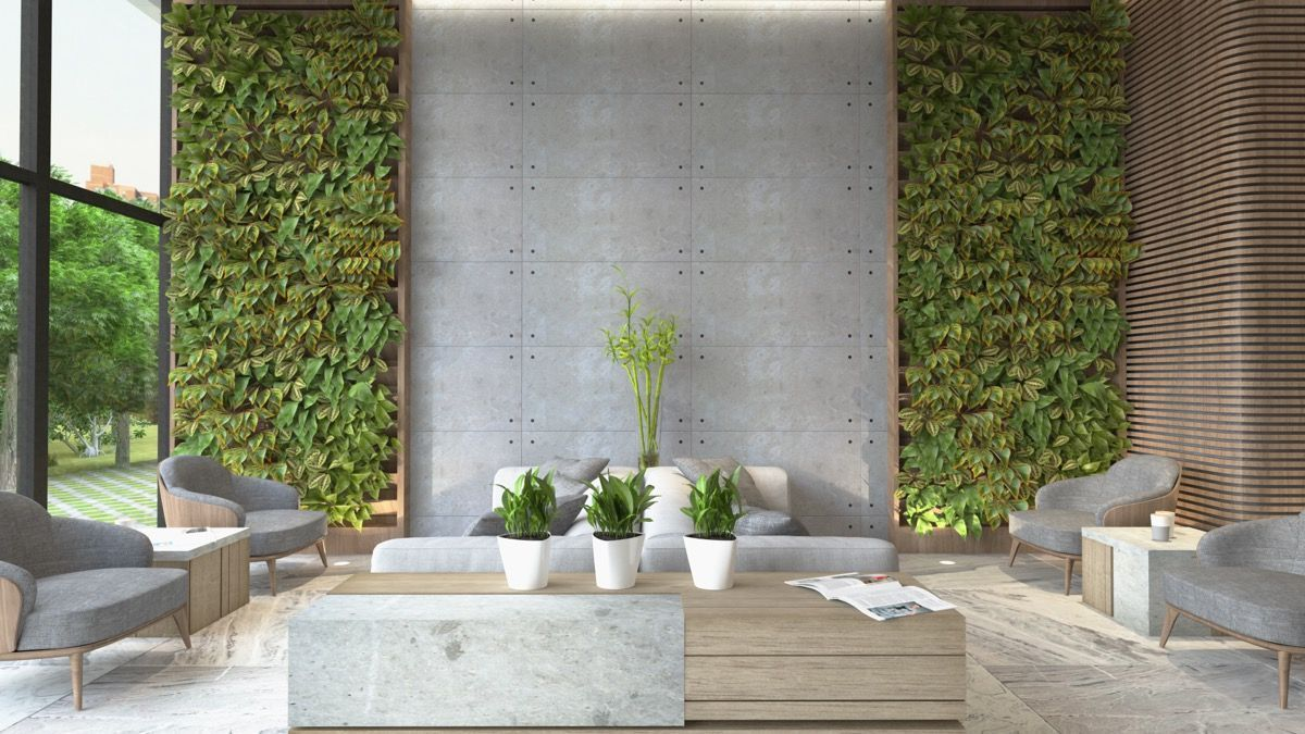 Natural gray and green living area