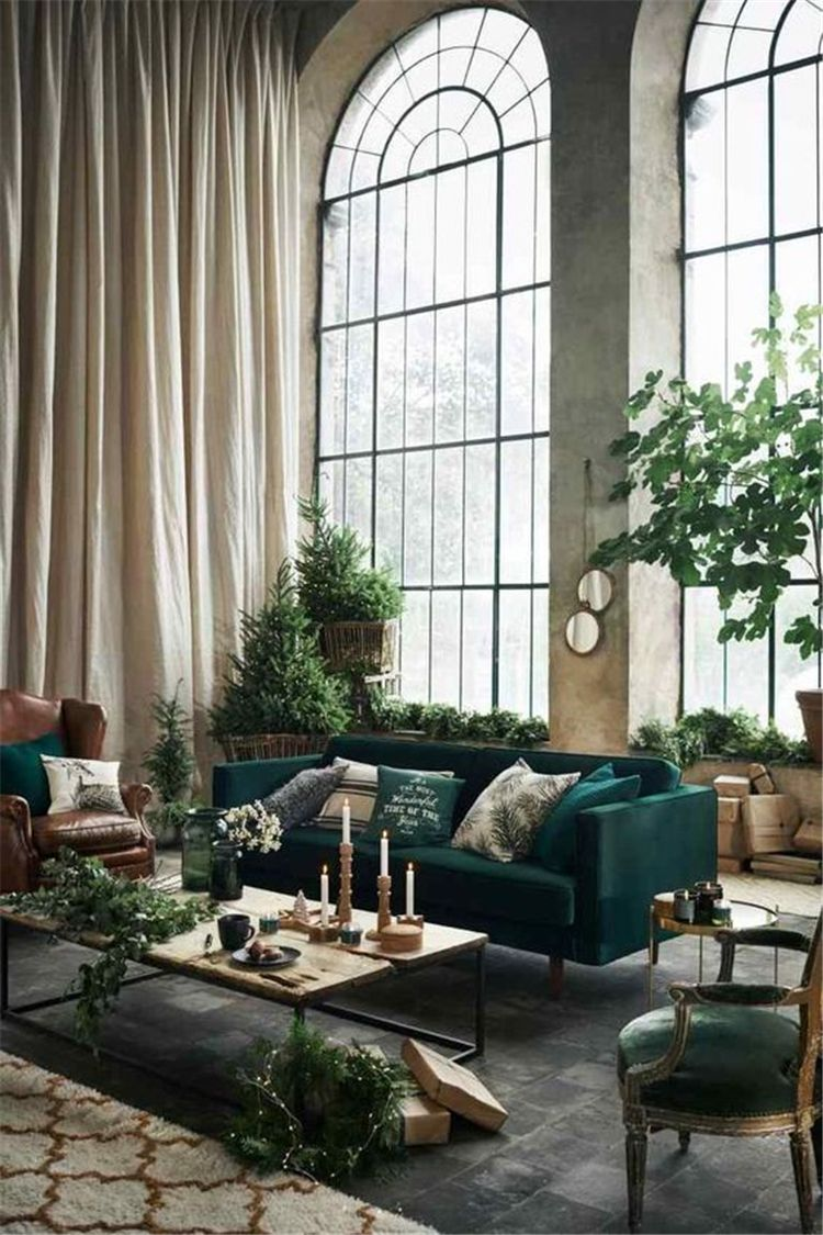 Fresh gray and green living room