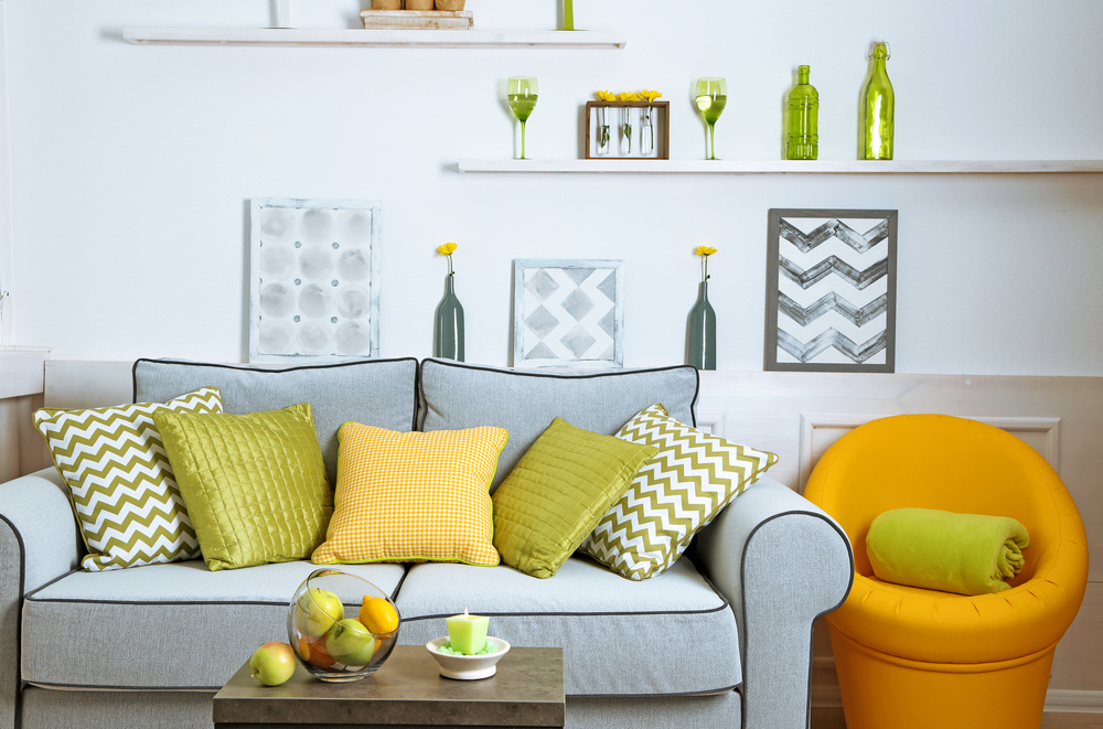 Green living room with small displays