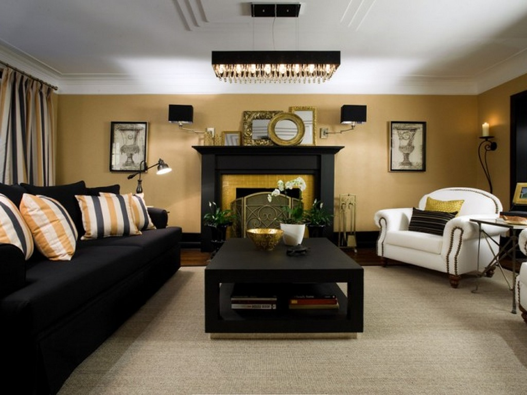 Luxurious fireplace in the black and gold living room