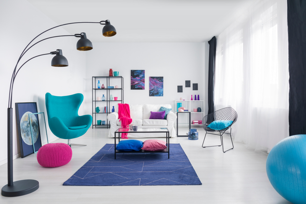 Artistic blue living room